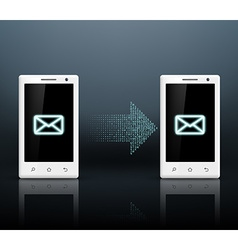 Two smartphones transmit messages vector