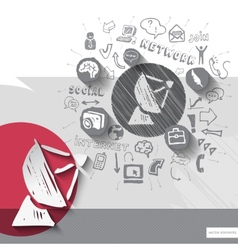Paper and hand drawn antenna emblem with icons vector