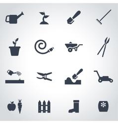 Black gardening icon set vector