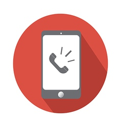 Phone call in smartphone flat icon vector