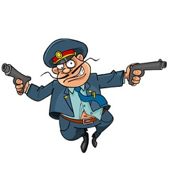 Funny cartoon policeman with guns running vector