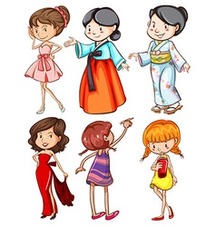 Girls with different attires vector