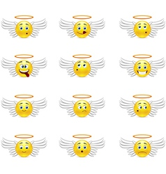 Angels smilies vector