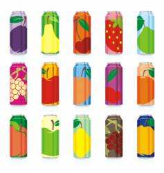 Juice cans set vector