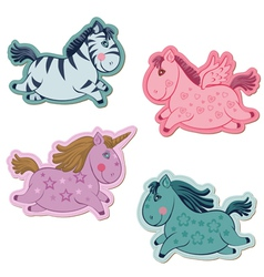 Unicorns horse set vector