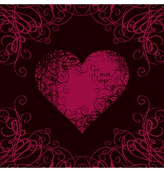 Heart in curls on a black vector