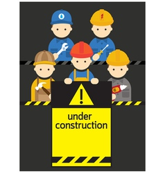 Worker craftsman with under construction sign vector