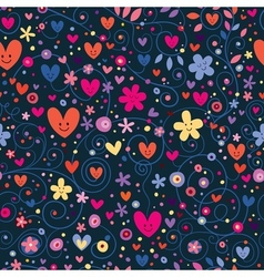 Cute hearts flowers floral pattern vector