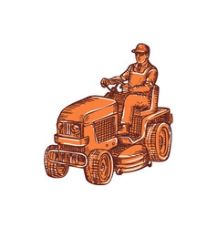 Gardener ride-on mower etching vector