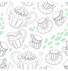 Outline seamless pattern with hand drawn tea vector