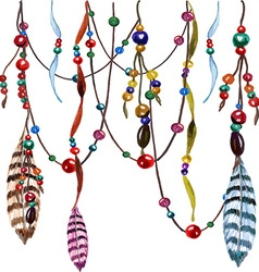 Feather and bead pattern vector