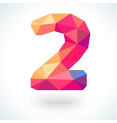 Number two in modern polygonal crystal style vector
