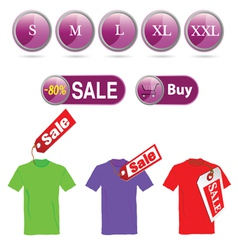 Selling off t-shirt and sizes vector