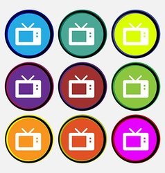 Retro tv mode icon sign nine multi-colored round vector