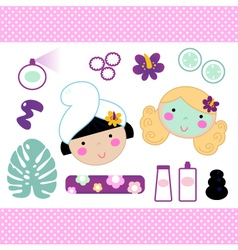 Cute spa set elements with beautiful girls vector