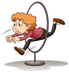 A man jumping through a hoop vector