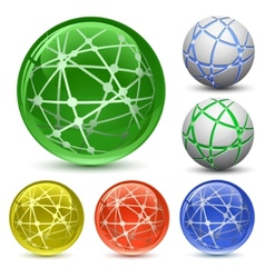 Abstract globe icon set vector
