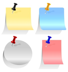 Colored paper sheets for notes different forms pin vector