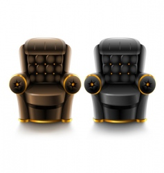Brown and black leather armchairs vector