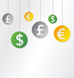 Hanging currency signs vector