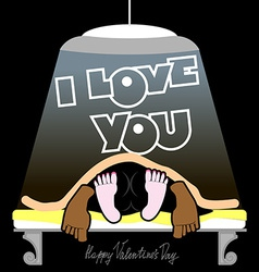 Valentines day card man and woman on the bed vector