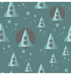 Seamless pattern with space rocket vector