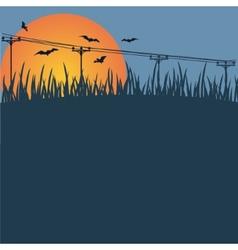 Background - a sunset bats vector