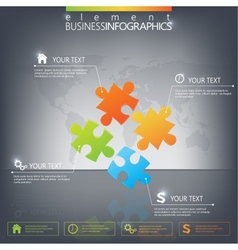 3d puzzle piece infographics on dark background vector