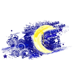 Moon and night sky with stars painted saturated ye vector