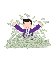Successful business man mountain money vector