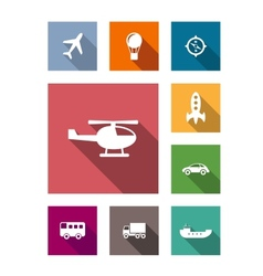Flat transportation icons set vector