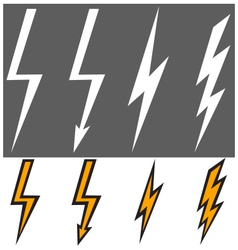 Flat lightning signs vector