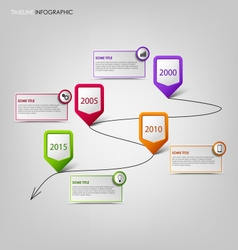 Time line info graphic with colored pointers vector