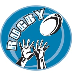 Rugby player hands catch ball vector