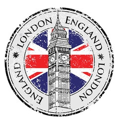 Rubber grunge stamp london great britain big ben vector