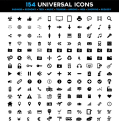 Big set of 154 universal black flat icons vector
