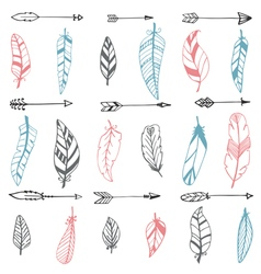 Ethnic seamless pattern with hand drawn arrows and vector