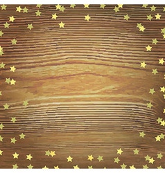 Wooden background with gold stars vector