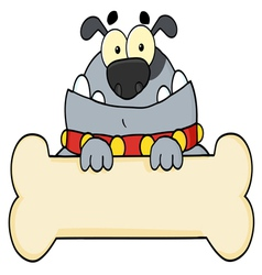 Gray bulldog and bone sign vector
