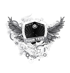 Shield with floral and wings vector