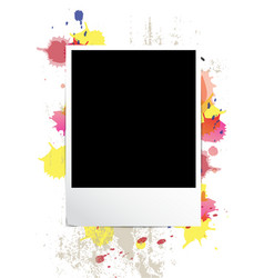 Picture frame on splatter background vector