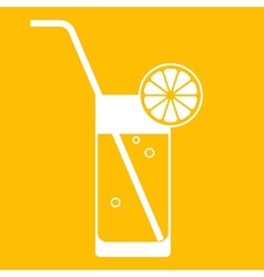 Glass of lemonade with drinking straw vector