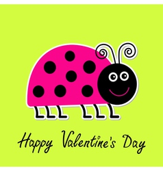Cartoon pink lady bug happy valentines day vector
