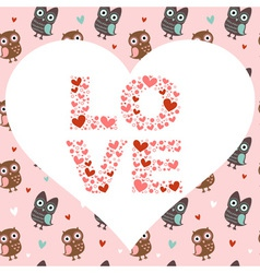 Valentine love card with cute romantic owls vector