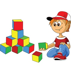 Boy with building blocks vector