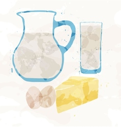 Set of dairy products from multi-colored spots vector