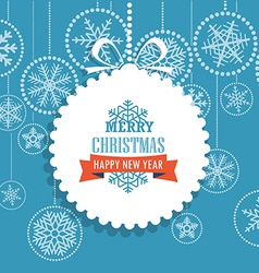 Christmas greeting card with snowflakes on backgro vector