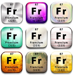 A button with the chemical element francium vector