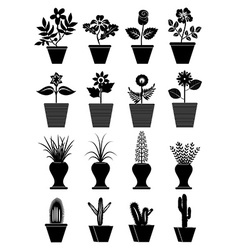 Flower pot icons set vector