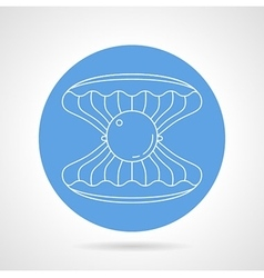 Scallop blue round icon vector